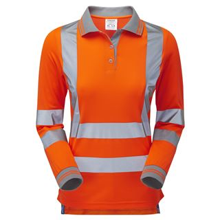 Pulsar PR703 Ladies Long Sleeve High Vis Orange Polo Shirt