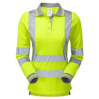 Pulsar P702 Ladies Long Sleeve High Vis Yellow Polo Shirt