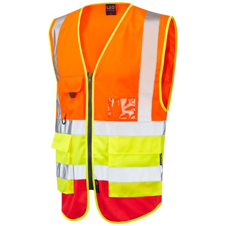 Leo Workwear Lynton W11 Dual Colour Hi-Vis Class 1 Multi-pocket Superior Waistcoat Yellow-Royal Blue 3XL