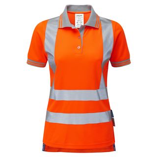 Pulsar PR701 Ladies Short Sleeved High Vis Orange Polo Shirt