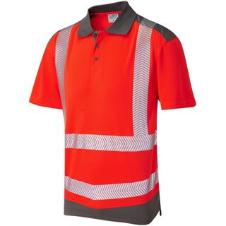 Leo P14 Peppercombe High Vis Red Short Sleeve Polo Shirt