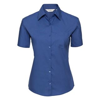 Russell 937F Women's Short Sleeve 100% cotton Blouse.