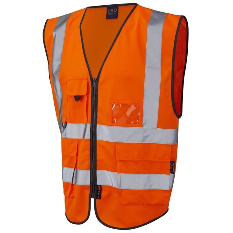 Leo Workwear Lynton W11 Dual Colour Hi-Vis Class 1 Multi-pocket Superior Waistcoat Yellow-Navy XL