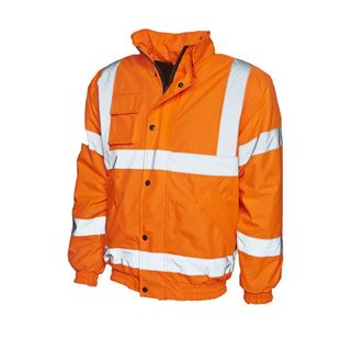 UC804 High Vis Orange Bomber Jacket.