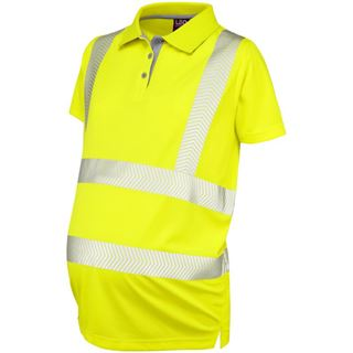 Leo PM03 Womens Maternity High Vis Yellow Polo Shirt